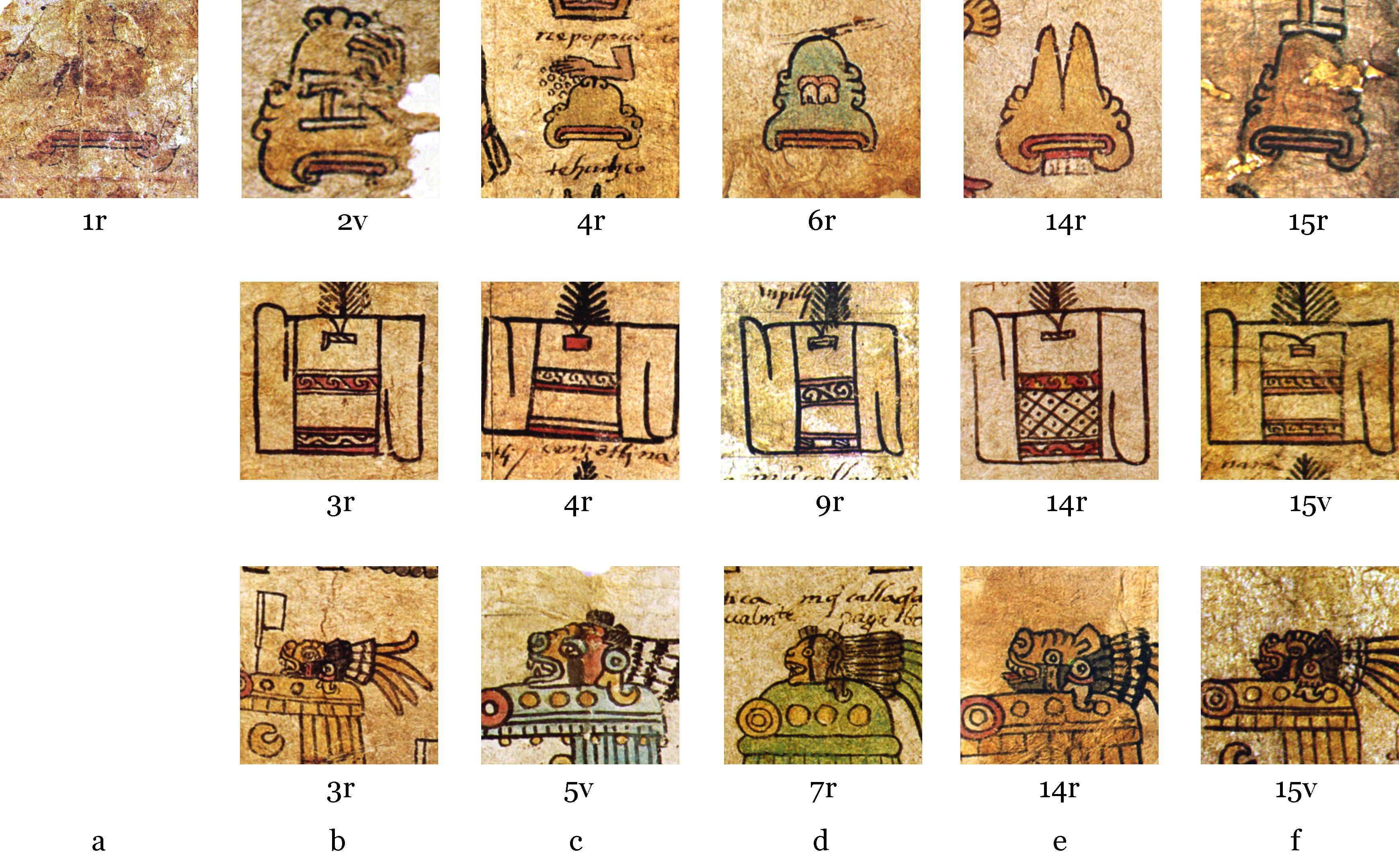 FIGURE 2. How the six scribes (a-f) of the Matr�cula de Tributos represented mountains, bundles of cloth, and the head of Xolotl (a canid supernatural), as argued by Juan Jos� Batalla Rosado.