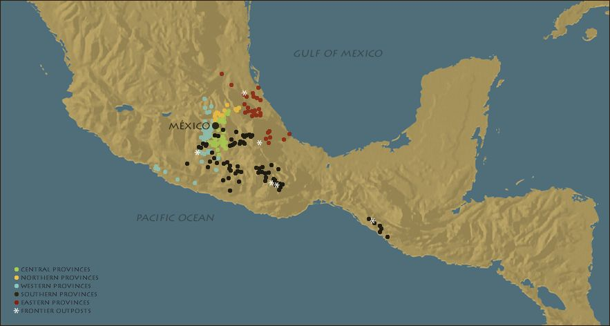 FIGURE 9. Map of frontier outposts included in the Matrícula de Tributos.