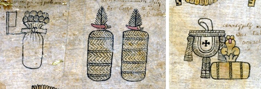 FIGURE 11. Flag (20), Feather (400), and Pouch (8,000) numeric abbreviations. Left: 20 bundles of white feathers and 400 loads of chiles and 400 loads of chiles from the province of Tuchpa (folio 15v). Right: 8,000 cakes of liquidambar from the province of Tlatlauhquitepec (15r).