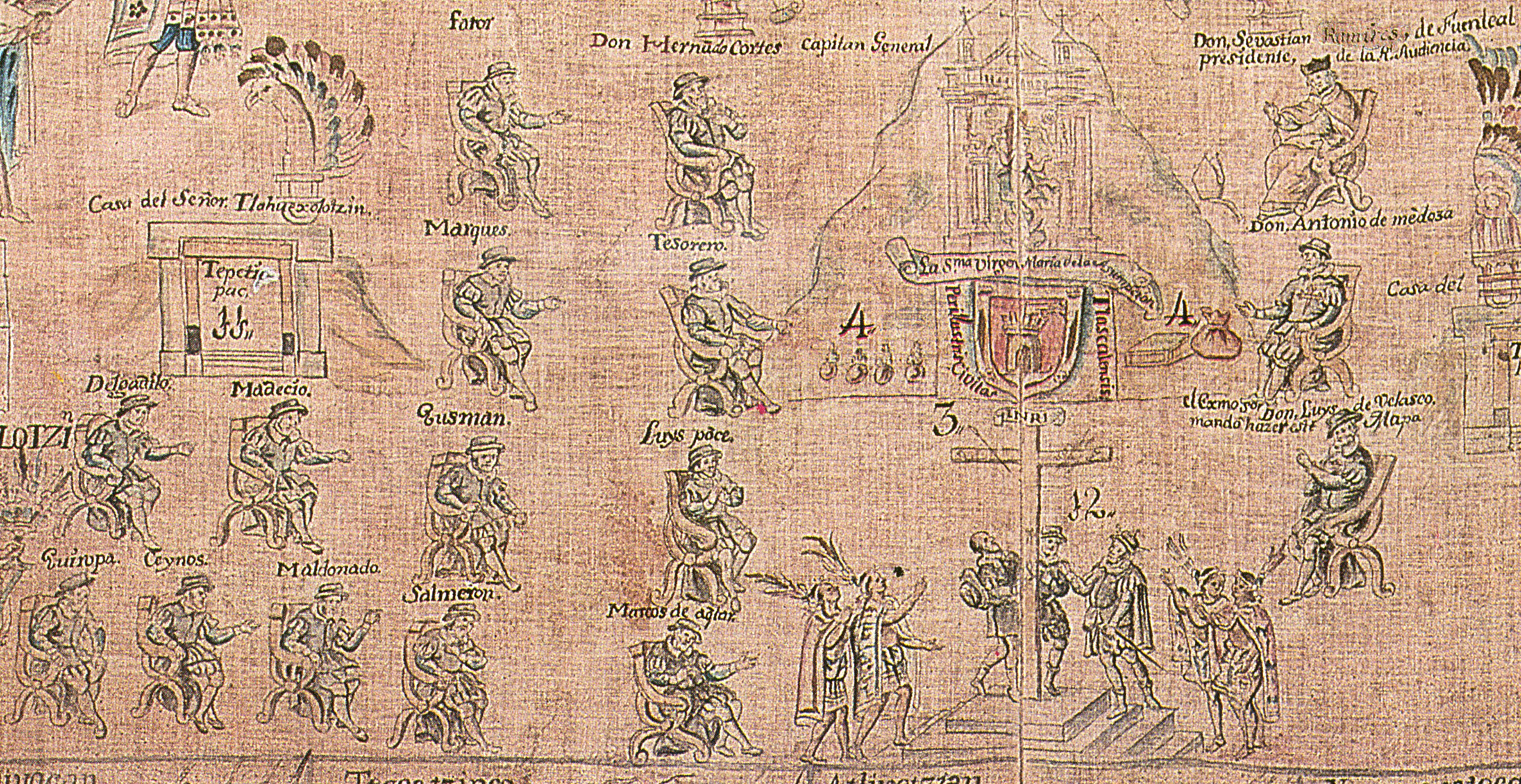 FIGURE 17. Detail of the Europeans in the center of the main scene of the 1773 copy Lienzo de Tlaxcala.
