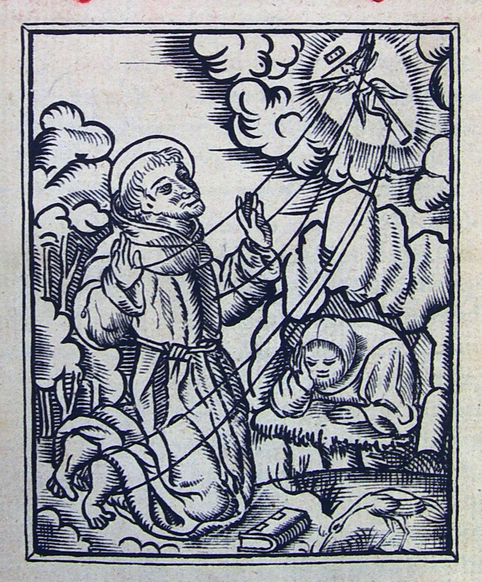 FIGURE 1. St. Francis receives the stigmata on the frontispiece to Alonso de Molina's 1555 Castilian to Nahuatl _Vocabulario_.