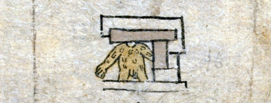"FIGURE 3. Flayed human skin in the place sign for Ehuacalco, ""In the House of Skin,"" on folio 10v of the Matrícula."