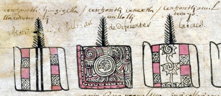 "FIGURE 13. Capes from the tribute province of Ocuilan, on folio 7v of the Matrícula de Tributos. Alphabetic glosses in Nahuatl describe these as ""Huitzizilla-style"" (left), ""with notable drawings"" (center), and ""Ocuilan-style"" (right)."
