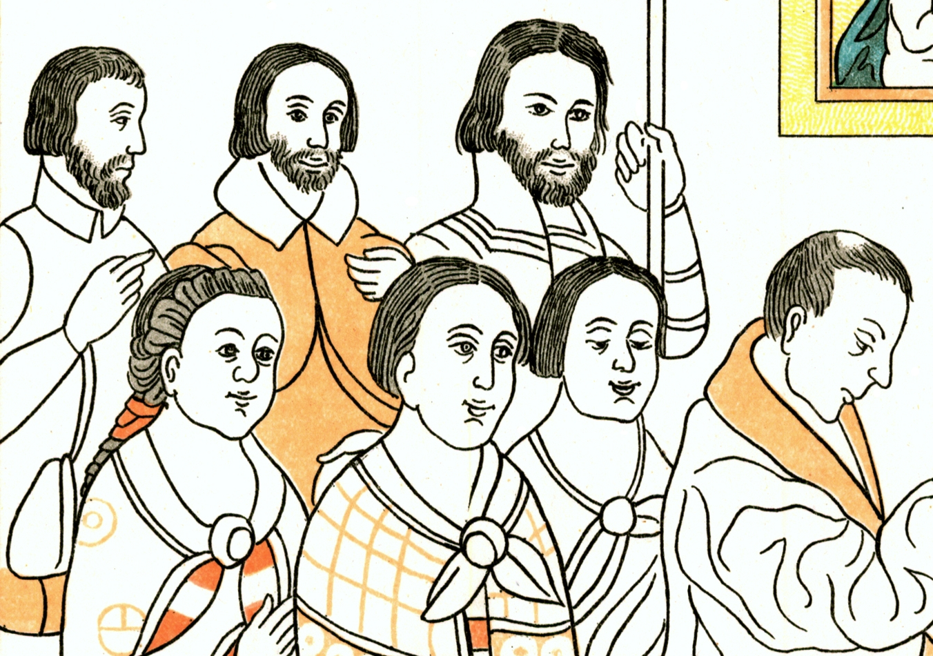 FIGURE 19. Tlaxcalan converts to Christianity wear their hair cut short in a European style, from Cell 8 of the Lienzo de Tlaxcala. Only one indigenous man (front row, to the left) still wears his long hair bound in cloth. His feathered headband may indicated that he is ethnically Otomi. In the background, the short European hairstyle is worn by bearded Europeans.