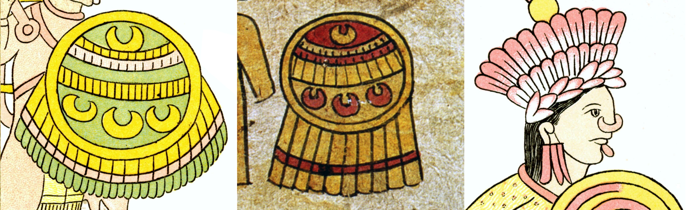 FIGURE 28. The crescent-shaped Huaxtec nose ornament, from a shield in Cell 68 of the Lienzo de Tlaxcala (left), a shield on folio 14r of the Matrícula de Tributos (center), and worn by a warrior in Cell 61 of the Lienzo de Tlaxcala (right).
