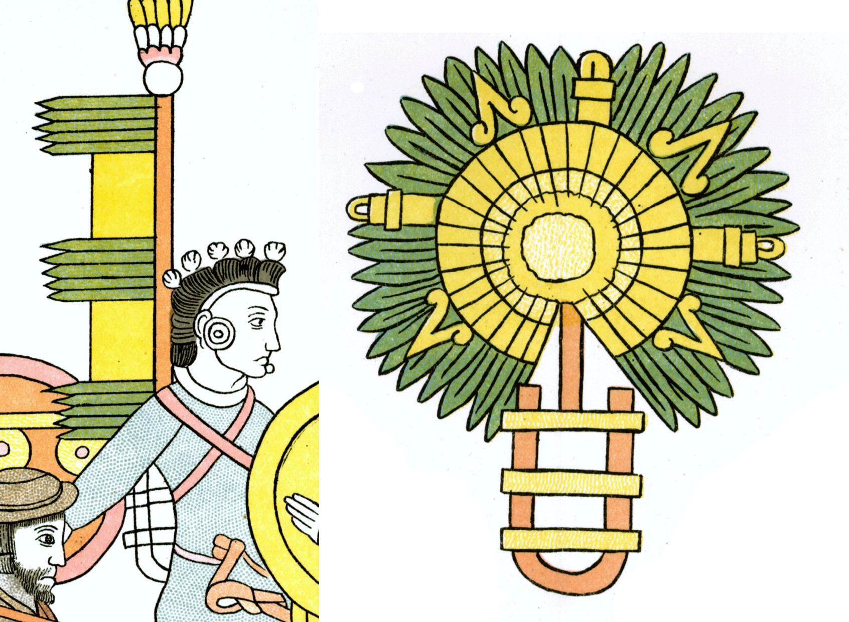 FIGURE 31. Battle standards in the Lienzo de Tlaxcala, showing a Banner-style battle standard strapped onto a warrior's back from Cell 40 (left) and a Sun-style battle standard showing the U-shaped support rack from Cell 29 (right).