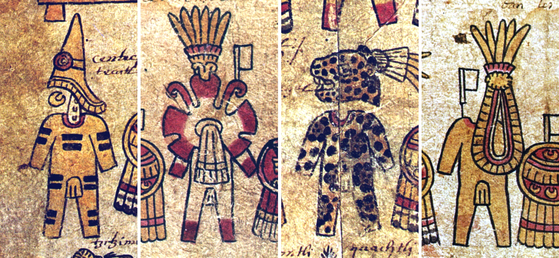 FIGURE 32. Four basic styles of warrior costume in the Matrícula de Tributos. From left to right, Huaxtec (folio 3r), Butterfly (folio 3v), Jaguar (folio 3v), and Claw (folio 3v).