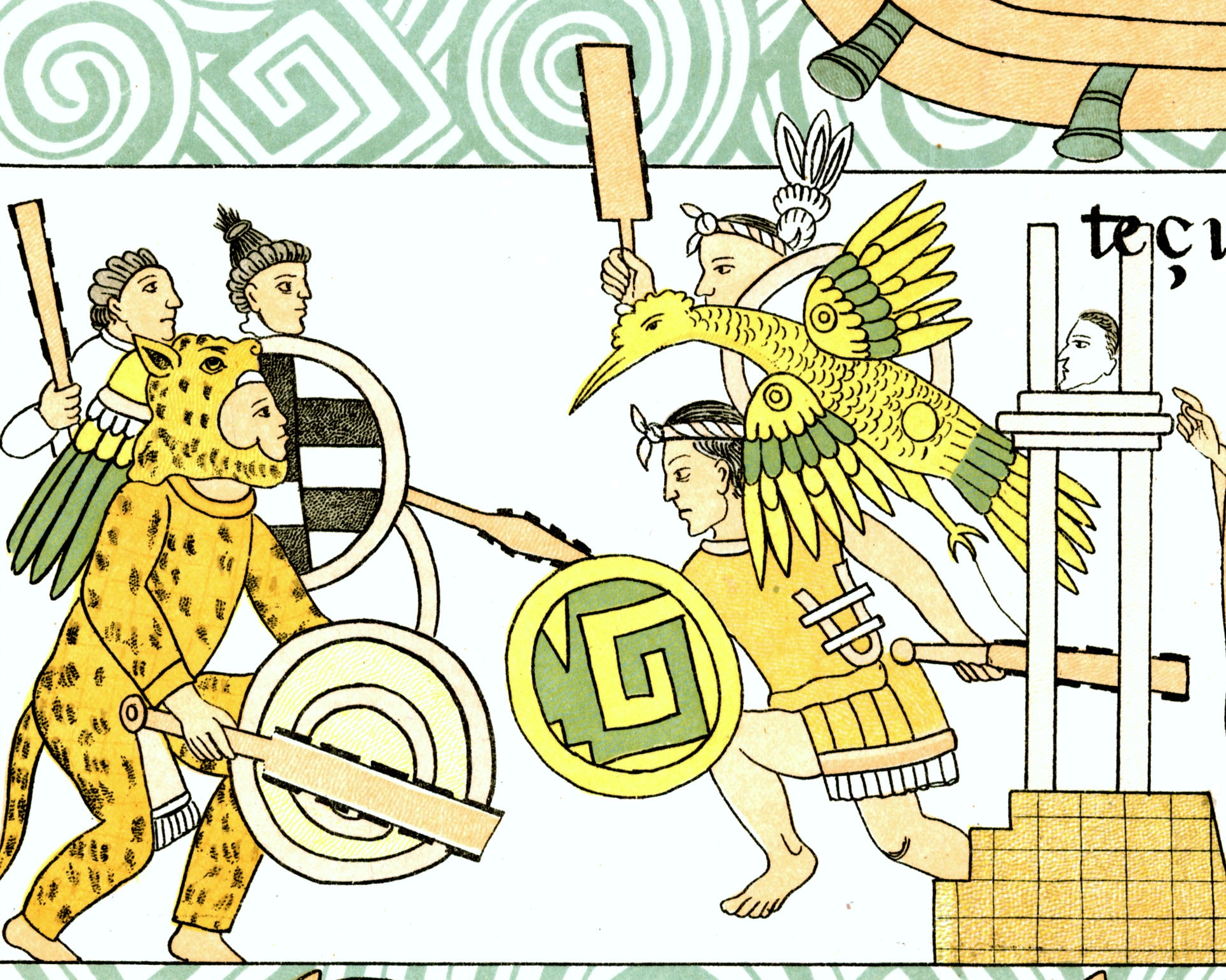 FIGURE 34. Battle scene from Cell 45 of the Lienzo de Tlaxcala; Aztec warriors fight on the left and Tlaxcalan warriors fight on the right. They are armed with obsidian-bladed swords and an obsidian-bladed thrusting spear. On the left, one of the Aztec warrior looks out from inside the jaws of his jaguar headdress. On the right, one of the Tlaxcalan warriors wears the golden Eagle battle standard of Ocotelolco.