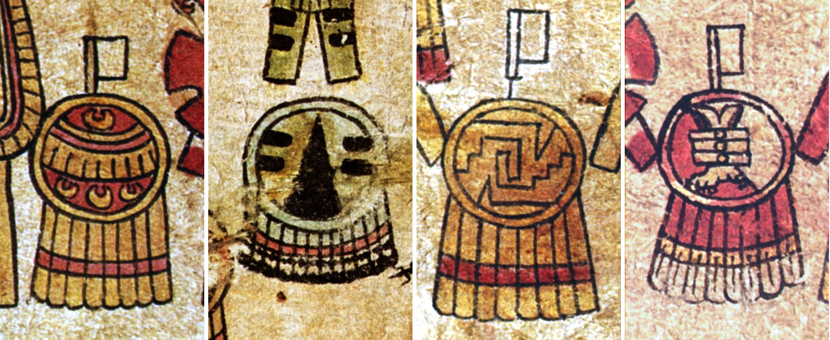 FIGURE 37. Styles of shields from folios 3r and 4r of the Matrícula de Tributos. From left to right, these are the Huaxtec Nose Ornament shield, the Huaxtec Hawk Scratch shield, the Twisted Gourd shield, and the Eagle's Foot shield.