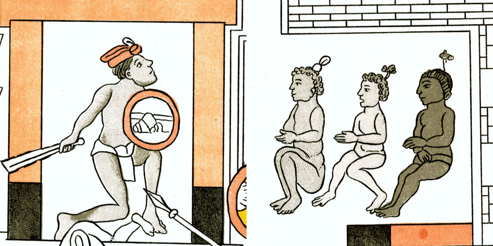 FIGURE 39. Black body paint worn by priests from Cholula, in Cell 10 of the Lienzo de Tlaxcala.