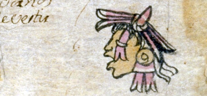 FIGURE 41. Xipe Totec in the place sign for Chipetlan on folio 10r of the Matrícula de Tributos.