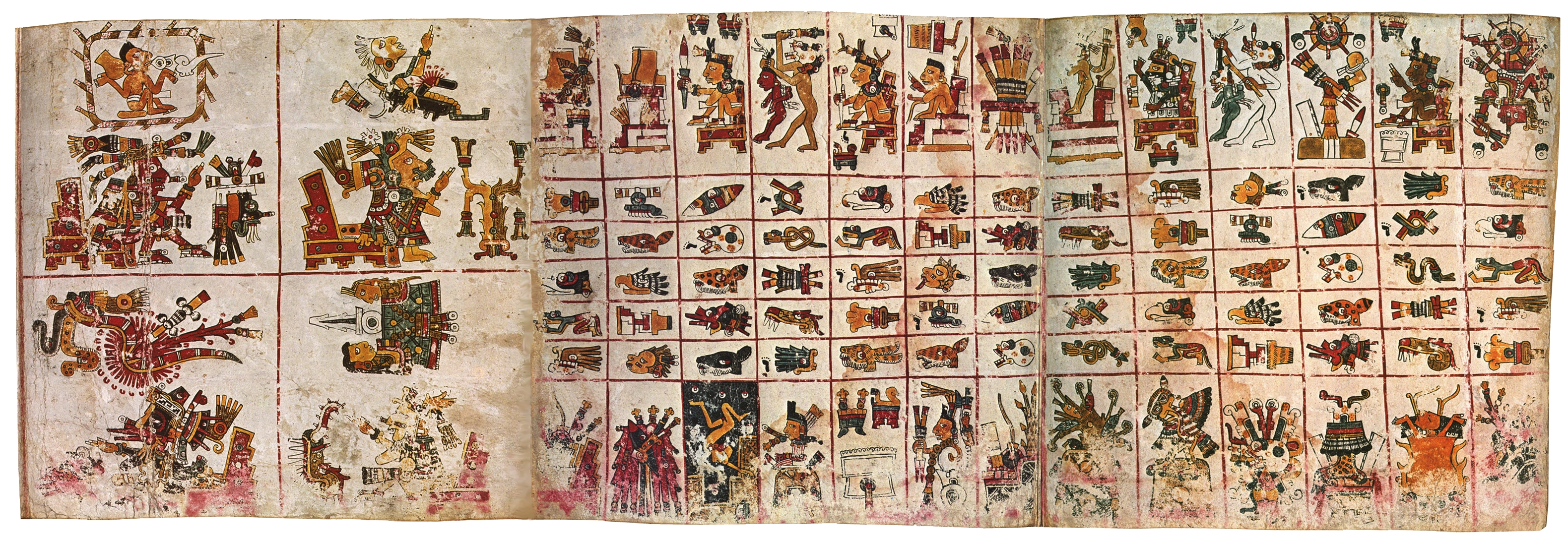 FIGURE 7. Three pages from the Codex Borgia, a divinatory almanac.