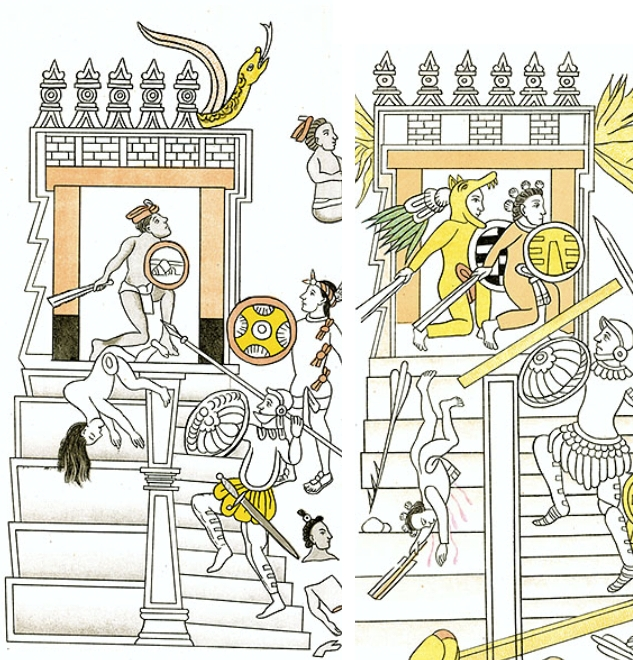FIGURE 10. Naked warriors tumble down stairs like sacrificial victims, from Cells 9 and 16 of the Lienzo de Tlaxcala.