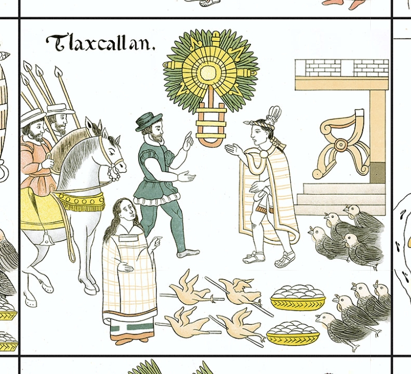 FIGURE 19. The covenant between Cortés and the Tlaxcalans, from Cell 29 of the Lienzo de Tlaxcala.