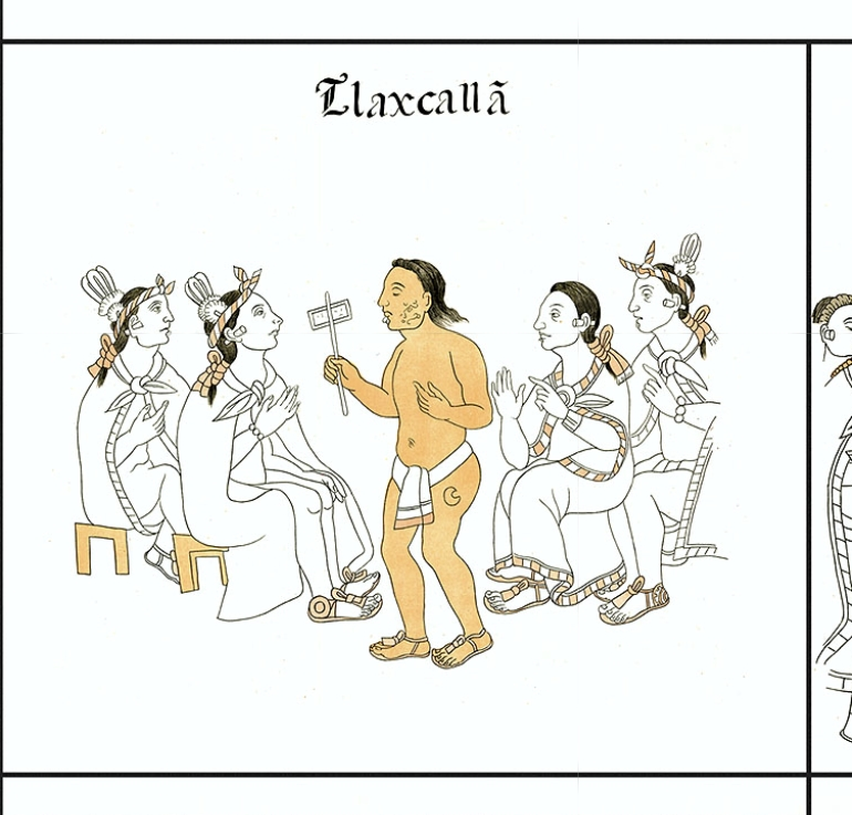 FIGURE 22. News of the Europeans arrives in Tlaxcala: Cell 1 of the Lienzo de Tlaxcala.