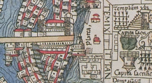 FIGURE 20. The palace of Mocteczuma (towards the bottom of the image) and a Platea (street),  from the 1524 Nuremberg map of Tenochtitlan. Chicago, Newberry Library, Ayer 655.51.C8 1524b.