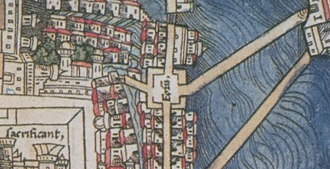 FIGURE 23. The great market of Tlatelolco as a Forum, from the 1524 Nuremberg map of Tenochtitlan. Chicago, Newberry Library, Ayer 655.51.C8 1524b.