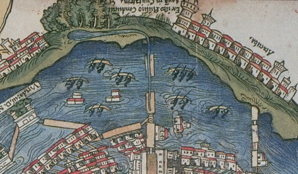 FIGURE 24. The aqueduct along the causeway from Chapultepec, from the 1524 Nuremberg map of Tenochtitlan. Chicago, Newberry Library, Ayer 655.51.C8 1524b.