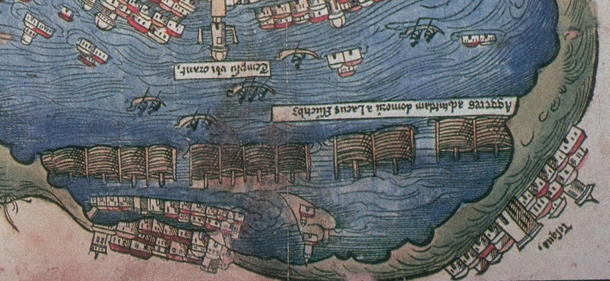 FIGURE 29. The barrier dike in Lake Texcoco, from the 1524 Nuremberg map of Tenochtitlan. Chicago, Newberry Library, Ayer 655.51.C8 1524b.