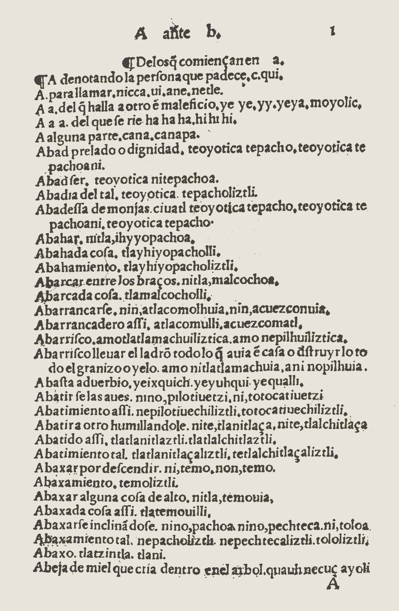 FIGURE 2. Folio 1r of Molina�s 1555 _Vocabulario_.