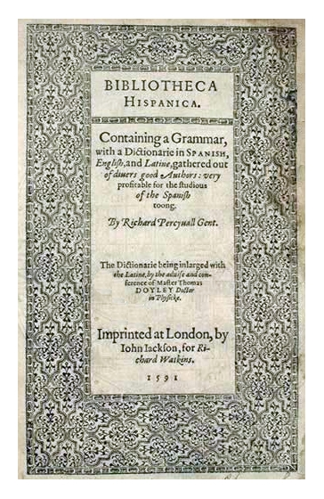 FIGURE 9. Front cover of Richard Percyvall's 1591 _Bibliothecae Hispanicae_.