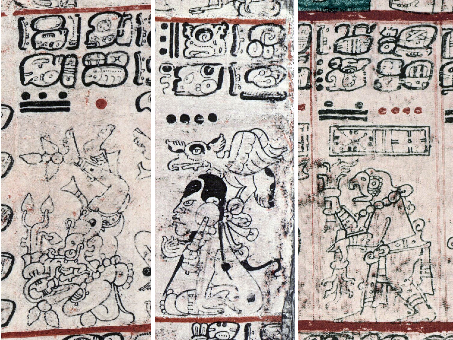 FIGURE 10. Details of the Codex Dresden, from pages 15b (left), 18b (center), 40b (right).