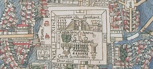 FIGURE 19. The ceremonial center of Tenochtitlan, from the 1524 Nuremberg map of Tenochtitlan. Chicago, Newberry Library, Ayer 655.51.C8 1524b.
