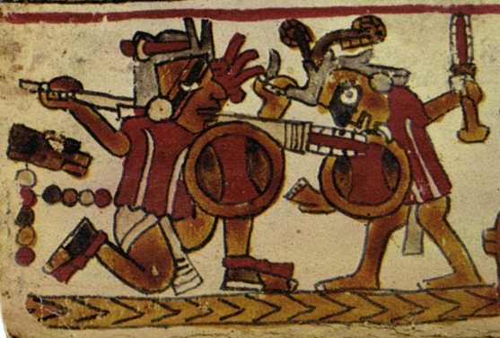 FIGURE 20. The warrior on the right wears Toltec-style face paint, from page 12 of the Codex Selden.