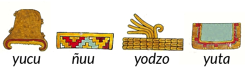 FIGURE 4.  Four main substantives in Ñudzavui writing: _yucu_ (hill, from page 61 of the Codex Nuttall, qualifiers removed); _ñuu_ (town, from page 65 of the Codex Nuttall, associated plain sign removed); _yodzo_ (plain, from page 65 of the Codex Nuttall, associated _ñuu_ frieze removed); and _yuta_ (river, from page 75 of the Codex Nuttall, associated hill sign removed).