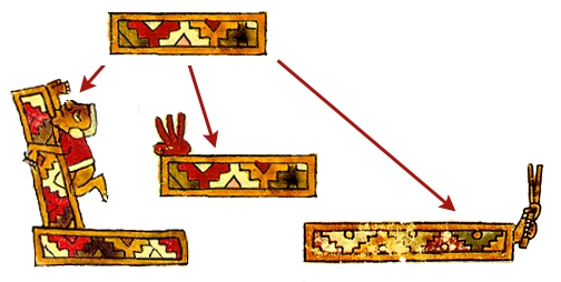 FIGURE 5. The _ñuu_ substantive modified with qualifiers. Plain town frieze from page 65 of the Codex Nuttall (qualifier removed). Town of Flames (Achiutla) from page 2 of the Codex Selden. Bent Town (Teozacoalco), from page 4 of the Codex Selden. Town with hand and feathers (Juquila), from page 13 of the Codex Bodley.