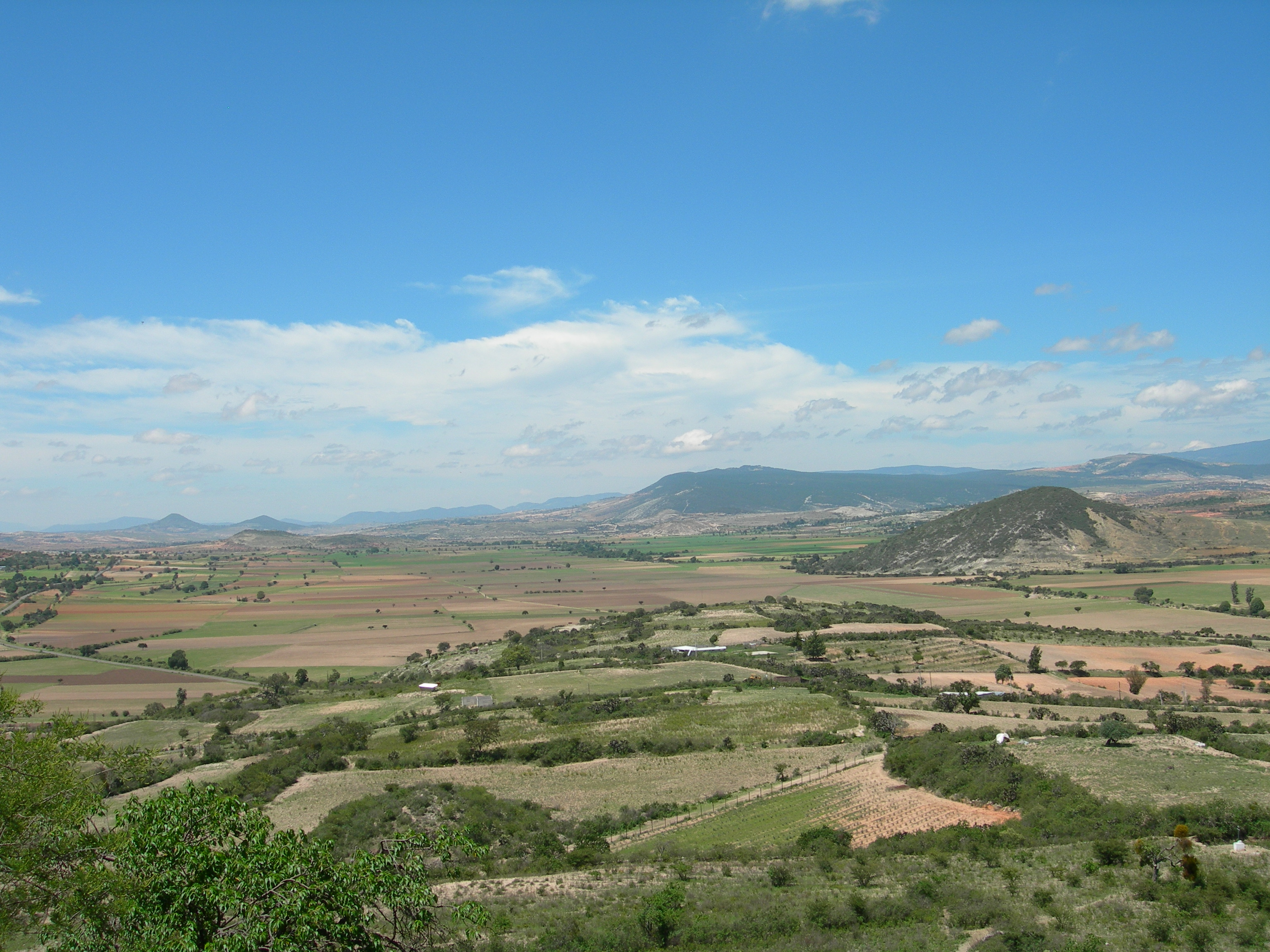 FIGURE 6. View of the southern Nochixtlan Valley, as seen looking south from the top of Yucuita. The twin hills above Magdalena Jaltepec (Añute) can be seen on the horizon near the left edge of the photo. June 2007. Photo by Byron Hamann.