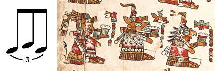 FIGURE 9. Left: Musical triplet. Right: Three deities, from page 25 of the Codex Vienna.