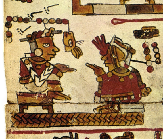 "FIGURE 5. Lord 9 Lizard and Lady 12 Deer seated on ""the thrones, the mat,"" from page 12 of the Codex Selden."
