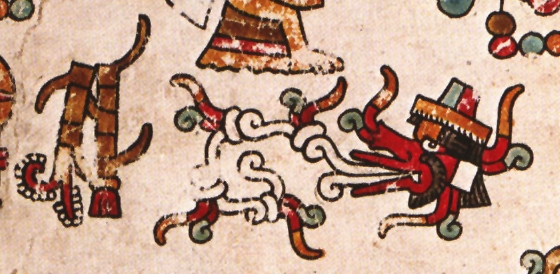 FIGURE 7. Maize plants (left) destroyed by the hot breath of the wind god (right), from page 27 of the Codex Vienna.