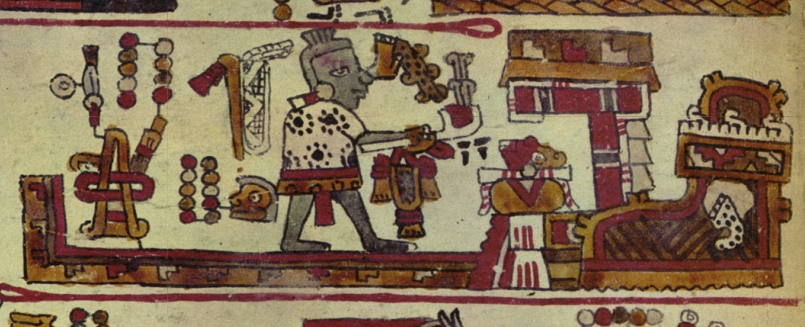 FIGURE 10. Lord 10 Monkey presents incense to the _ñuhu_ -marked sacred bundle in the temple of Añute, from page 14 of the Codex Selden.