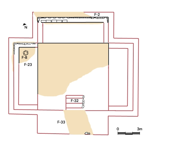 FIGURE 16. Excavation Unit N 205 K: the endeque house at Chachoapan (redrawn from Lind 1979, 45). Black lines indicate excavated features; red lines indicate reconstructed features; beige indicates areas of crushed endeque. Feature F-8 is a stone-lined hearth. Feature F-32 is a staircase.