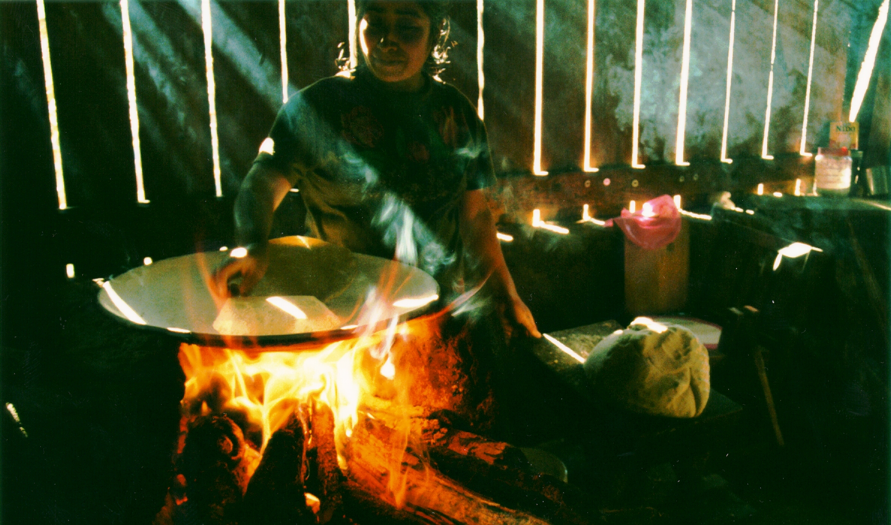 FIGURE 19. Cooking with a comal above an open fire. Photo by Jennifer Folster.