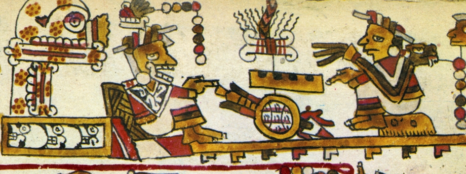 FIGURE 8. Lady 6 Monkey meets with Lady 9 Grass, from page 7 of the Codex Selden.